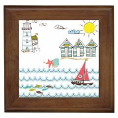 Summer Holiday Framed Ceramic Tile by whitemagnolia
