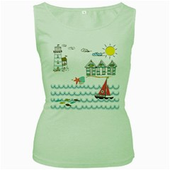 Summer Holiday Women s Tank Top (green) by whitemagnolia