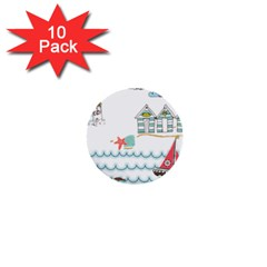Summer Holiday 1  Mini Button (10 Pack) by whitemagnolia