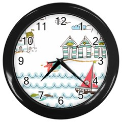 Summer Holiday Wall Clock (black) by whitemagnolia