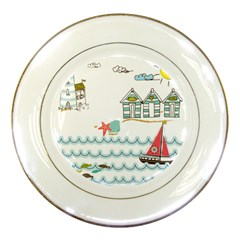 Summer Holiday Porcelain Display Plate by whitemagnolia