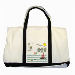 Summer Holiday Two Toned Tote Bag by whitemagnolia