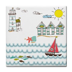 Summer Holiday Face Towel by whitemagnolia