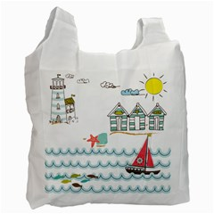 Summer Holiday White Reusable Bag (two Sides) by whitemagnolia