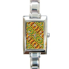 Tropical Colors Abstract Geometric Print Rectangular Italian Charm Watch by dflcprints