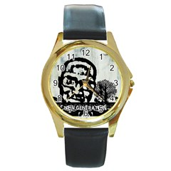 M G Firetested Round Leather Watch (gold Rim)  by holyhiphopglobalshop1