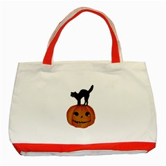 Vintage Halloween Cat Classic Tote Bag (Red) by EndlessVintage