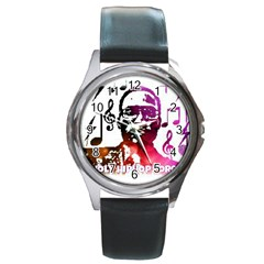 Round Leather Watch (silver Rim) by christianhiphopWarclothe