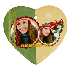 Merry Christmas By Merry Christmas   Heart Ornament (two Sides)   Tganihaqicbq   Www Artscow Com Back