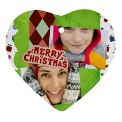 Merry Christmas By Merry Christmas   Heart Ornament (two Sides)   Nib82k3j4kis   Www Artscow Com Front