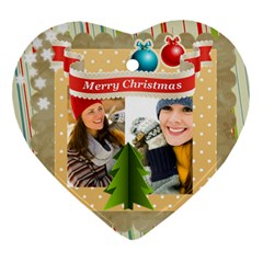Merry Christmas By Merry Christmas   Heart Ornament (two Sides)   8cbs9mzxeyt3   Www Artscow Com Front