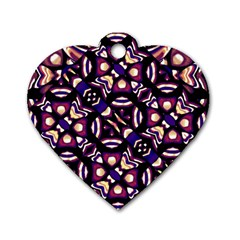 Colorful Tribal Pattern Print Dog Tag Heart (two Sided) by dflcprints