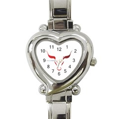 Stylized Symbol Red Bull Icon Design Heart Italian Charm Watch  by rizovdesign