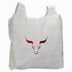 Stylized Symbol Red Bull Icon Design White Reusable Bag (One Side) by rizovdesign