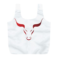 Stylized Symbol Red Bull Icon Design Reusable Bag (l) by rizovdesign