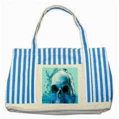 Skull In Water Blue Striped Tote Bag by icarusismartdesigns
