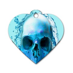 Skull In Water Dog Tag Heart (two Sided) by icarusismartdesigns