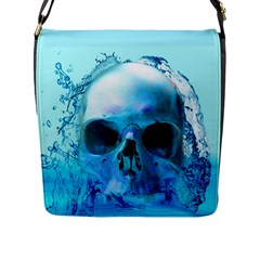 Skull In Water Flap Closure Messenger Bag (large) by icarusismartdesigns