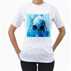 Skull In Water Women s T Shirt (white)  by icarusismartdesigns