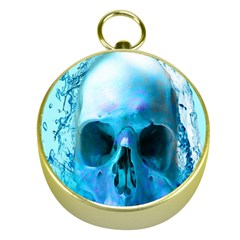 Skull In Water Gold Compass by icarusismartdesigns