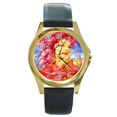 Tears Of Blood Round Leather Watch (gold Rim)  by icarusismartdesigns