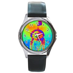 Sitting Bull Round Leather Watch (silver Rim) by icarusismartdesigns