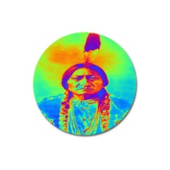Sitting Bull Magnet 3  (round) by icarusismartdesigns