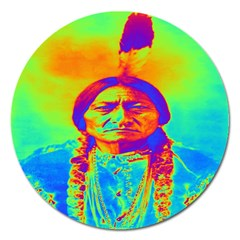 Sitting Bull Magnet 5  (round) by icarusismartdesigns
