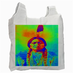 Sitting Bull White Reusable Bag (two Sides) by icarusismartdesigns