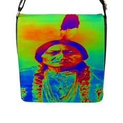 Sitting Bull Flap Closure Messenger Bag (large) by icarusismartdesigns