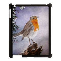 Robin On Log Apple Ipad 3/4 Case (black) by ArtByThree