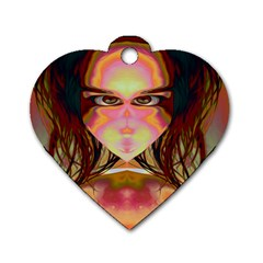 Cat Woman Dog Tag Heart (one Sided)  by icarusismartdesigns