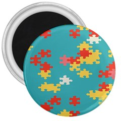 Puzzle Pieces 3  Button Magnet by LalyLauraFLM