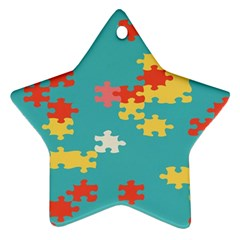 Puzzle Pieces Star Ornament by LalyLauraFLM
