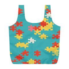 Puzzle Pieces Reusable Bag (l) by LalyLauraFLM
