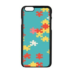 Puzzle Pieces Apple Iphone 6 Black Enamel Case by LalyLauraFLM