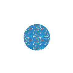 Colorful Squares Pattern 1  Mini Button by LalyLauraFLM