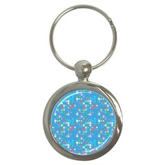Colorful Squares Pattern Key Chain (round) by LalyLauraFLM
