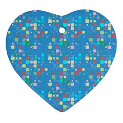 Colorful Squares Pattern Heart Ornament (two Sides) by LalyLauraFLM