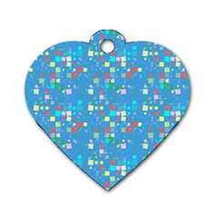 Colorful Squares Pattern Dog Tag Heart (two Sides) by LalyLauraFLM