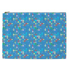 Colorful Squares Pattern Cosmetic Bag (xxl) by LalyLauraFLM