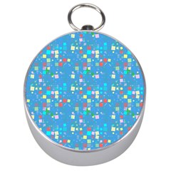 Colorful Squares Pattern Silver Compass by LalyLauraFLM
