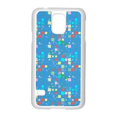 Colorful Squares Pattern Samsung Galaxy S5 Case (white) by LalyLauraFLM