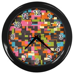 Colorful Pixels Wall Clock (black) by LalyLauraFLM