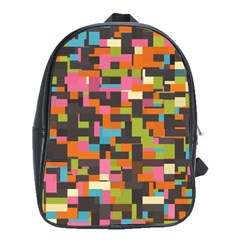 Colorful Pixels School Bag (large) by LalyLauraFLM