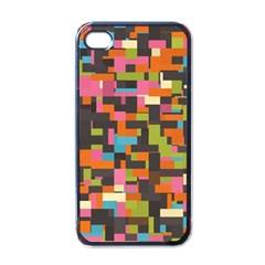 Colorful pixels Apple iPhone 4 Case (Black) by LalyLauraFLM