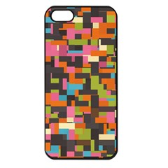 Colorful Pixels Apple Iphone 5 Seamless Case (black) by LalyLauraFLM