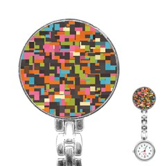Colorful Pixels Stainless Steel Nurses Watch by LalyLauraFLM