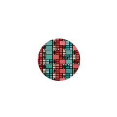 Red And Green Squares 1  Mini Button by LalyLauraFLM