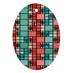 Red And Green Squares Ornament (oval) by LalyLauraFLM